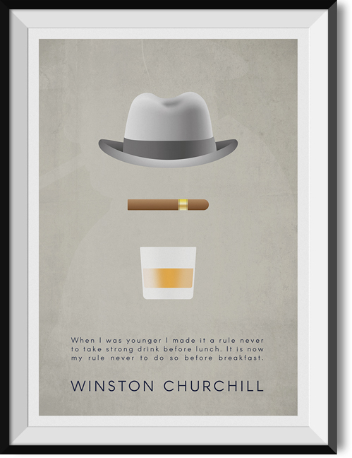 "Churchill ""Breakfast"" quote poster"