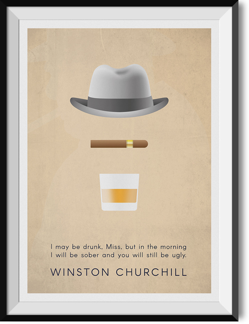 "Churchill ""Drunk"" quote poster"