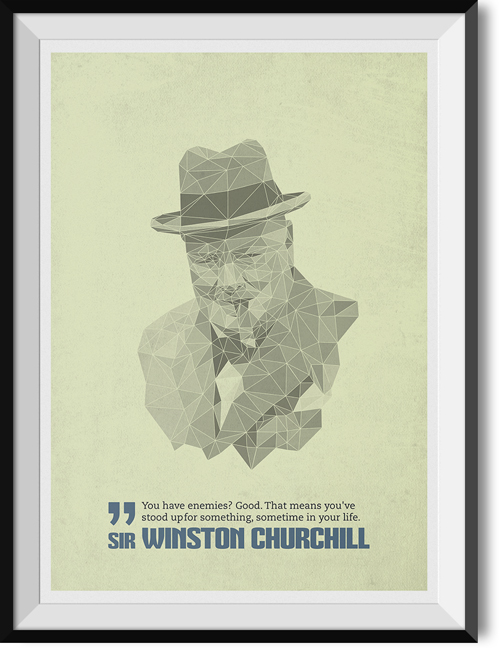 "Churchill ""Enemies"" quote poster"