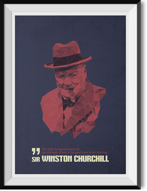 "Churchill ""Evil"" quote poster"