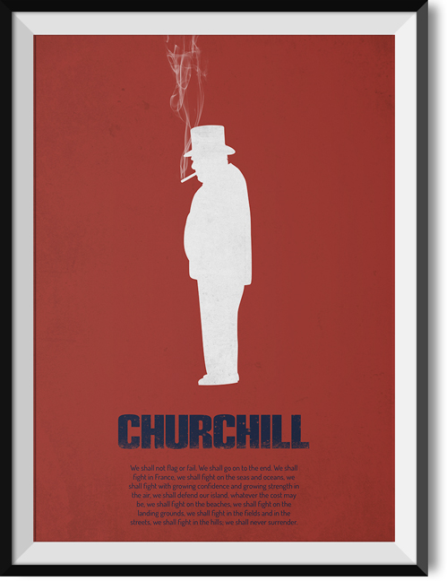 "Churchill ""Never surrender"" quote poster"
