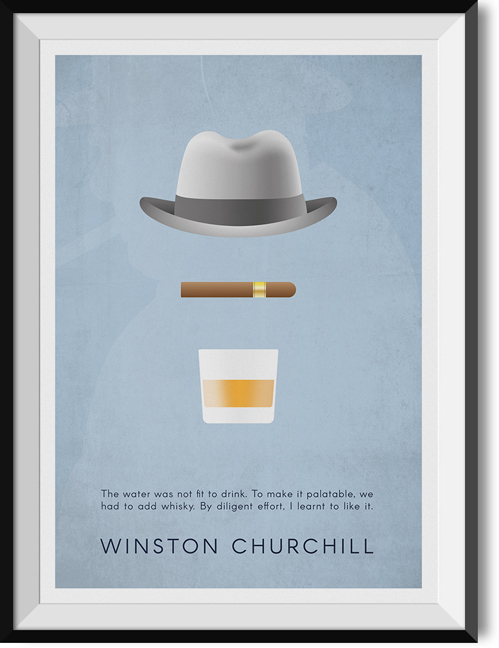 "Churchill ""Whisky"" quote poster"