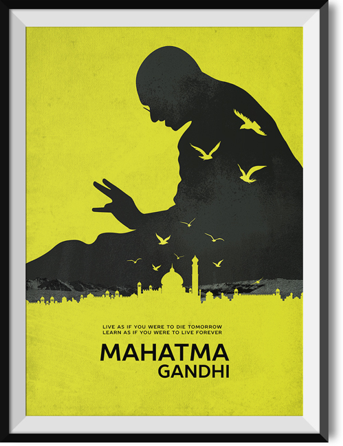 "Gandhi ""Live forever"" quote poster"