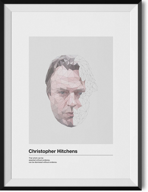 "Christopher Hitchens ""Without evidence"" quote poster"