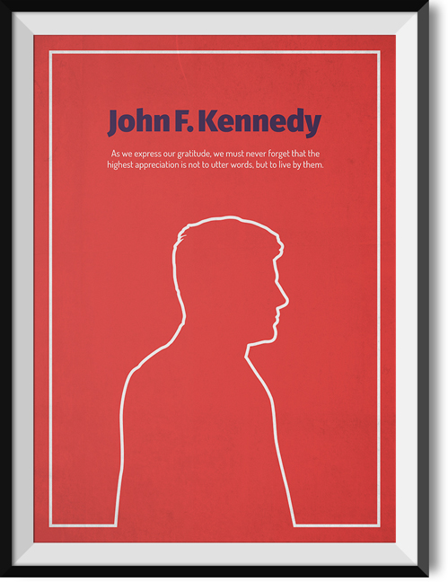 "Kennedy ""Gratitude"" quote poster"